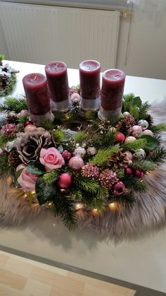 Purple Candles Add to the Holiday Feel christmas tablescapes , Purple Candles Add to the Holiday Feel Purple Candles Add to the Holiday Feel. Christmas Table Settings, Christmas Tablescapes, Christmas Candles, Christmas Centerpieces, Christmas Advent Wreath, Decoration Christmas, Christmas Crafts, Holiday Decor, Christmas Ideas