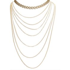 Shinhwa Corp  Mixed Chain Layered Necklace (215 MXN) ❤ liked on Polyvore featuring tops, necklaces, jewelry, accessories, gold, wet seal, chain top, double layer top, white top and wet seal tops
