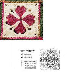 Ravelry: Project Gallery for Cathedral motif muffler pattern by Hobbyra Hobbyre Granny Pattern, Crochet Mandala Pattern, Crochet Triangle, Crochet Diagram, Crochet Chart, Diy Crochet, Crochet Stitches, Crochet Patterns, Crochet Blocks