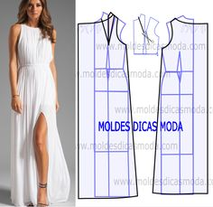 Risultati immagini per moldesedicasmoda Easy Sewing Patterns, Clothing Patterns, Dress Patterns, Sewing Clothes, Diy Clothes, Clothes For Women, Fashion Sewing, Diy Fashion, Costura Fashion