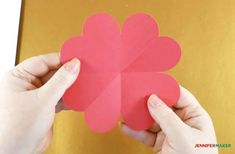 A scored and folded heart piece ready to make the pop-up heart card Pop Up Card Templates, Templates Printable Free, Heart Pop Up Card, Pop Out Cards, Paper Pop, Rainbow Card, Valentine Crafts, Valentines, Heart Crafts