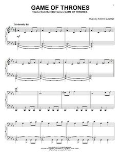 Game Of Thrones sheet music by Ramin Djawadi. Download from Sheet Music Direct website http://www.sheetmusicdirect.com/se/ID_No/151330/Product.aspx or through out free iPad app: http://itunes.apple.com/app/id499069309