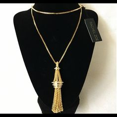 """Authentic Rachel Zoe Gold Tassel Necklace % AUTHENTIC✨ Stunning tassel necklace from Rachel Zoe. Yellow gold tone. Length 28 1/2"""" Never used. A statement piece Don't miss it NO TRADE  Rachel Zoe Jewelry Necklaces"""