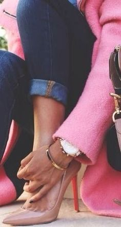 pink coat and loubs