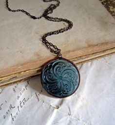 Steel Blue Swirl Glass Jewel Necklace Vintage by ThatOldBlueHouse2, $28.00