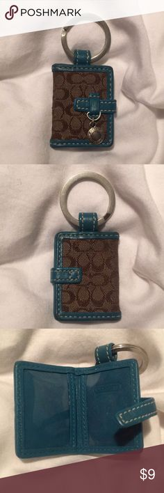 Coach Signature Photo Holder Keychain Mini photo holder. Good condition but a bit dingy. Will need a bit of cleaning. Coach Accessories
