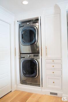 Small Laundry Closet, Laundry Closet Makeover, Laundry Nook, Mudroom Laundry Room, Laundry Dryer, Laundry Room Layouts, Laundry Room Remodel, Laundry Room Cabinets, Laundry Room Organization