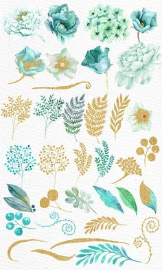 """Gold Coin Flowers Clipart: """"Watercolor Flowers"""" Wedding Flowers Gold Glitter Flowers Teal Flowers Turquoise Flowers DIY Wedding Greeting Card – The Best Ideas Mint Flowers, Glitter Flowers, Turquoise Flowers, Gold Glitter, Potted Flowers, Gold Gold, Floral Flowers, Watercolor Clipart, Watercolor Flowers"""