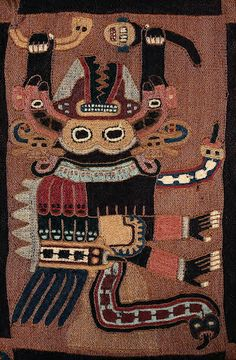 (Detail) Mantle, Wool plain weave with stem-stitch embroidery. Peru, Paracas, South Coast, Early Intermediate, 100-200A.D. Boston Museum of Fine Arts