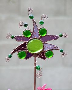 Abstract garden stake Stained glass art by Dianne McGhee