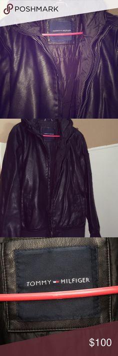 Tommy Hilfiger Men's Leather Black Coat Gorgeous 👍🏾😻 Nice leather Coat, Warm ans Very Stylish.. Tommy Hilfiger Jackets & Coats