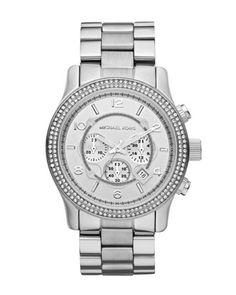 Michael Kors Large Runway Double Glitz Watch, Silver.