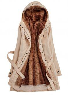 Hooded Collar Belt Design Faux Fur Pocket Coat