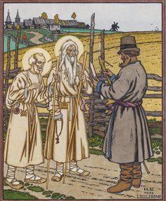 Билибин И. Я. Илья Пророк и Николай Чудотворец. Иллюстрация к сказке.