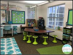 This is my favorite corner of my classroom.  The Hokki stool are definitely a fan favorite for my students with our flexible seating model!
