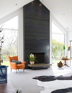 A Southland farming family build their dream home - Linear Fireplace, Metal Fireplace, Farmhouse Fireplace, Home Fireplace, Fireplace Remodel, Fireplace Surrounds, Fireplace Design, Industrial Fireplaces, Modern Fireplaces