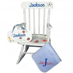 Chair that is just right for any little one and undeniably theirs with their name proudly displayed on the rocker, blanket and door sign. A wonderful gift set for new baby.