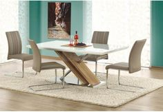 stół do jadalni, stół nowoczesny,stół-połysk-biały,dąb sonoma, stół szkło
