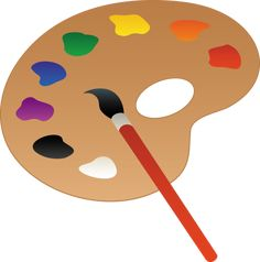 Clip art of a wooden art palette with paint and brush