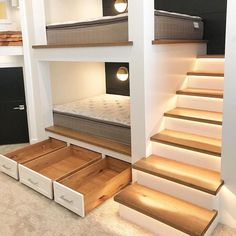 🔝 46 Awesome Loft Bed Ideas Maximizing The Space Of Small Rooms 42 Low Bunk Beds, Custom Bunk Beds, Bunk Bed Rooms, Bunk Beds Built In, Modern Bunk Beds, Kids Bunk Beds, Bunk Beds With Drawers, Bunk Bed Designs, Loft Spaces