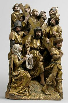 The Way to Calvary, with Saint Veronica Receiving the Veil Imprinted with the Face of Christ // // Brussels, Netherlands/This group was presumably part of a series of the Stations of the Cross incorporated into an altarpiece. Veil Of Veronica, St Veronica, Renaissance Kunst, Artists For Kids, Medieval Art, Ivoire, Sacred Art, Art Object, Religious Art