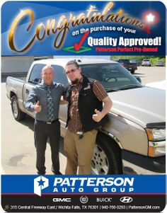 Congratulations to Thomas Orr on his new purchase! - From Royce Seay at Patterson Auto Center