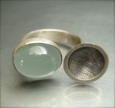 Aquamarine Ring.  Sterling Silver.  Reflections  by LivelyHood, via Etsy