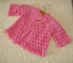 Very High Quality Handmade Pink Crochet Baby Clothes Crochet Infant Spring Dresses, Crochet Flower Children Clothing (LSY01). $40.00, via Etsy.