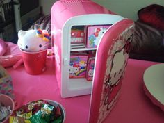 Hello Kitty frig with hk juice boxes.