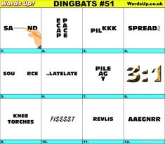 Dingbats & Whatzits Rebus online and printable Puzzles Rebus Puzzles, Printable Puzzles, Logic Puzzles, Word Puzzles, Word Up, Word Play, Employee Appreciation, Word Games, Child Care