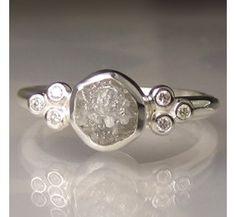 Raw Diamond Ring - Recycled Sterling Silver - Rough Diamond Ring - sz 5