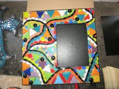 WIP picture frame........Work in progress by Tina @ Wise Crackin' Mosaics