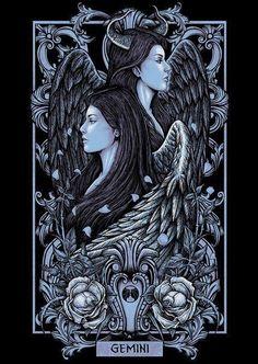 Gemini from a T-Shirt illustration series for Blacklimited from Bangkok, Thailand. The artist has serious skills. Zodiac Art, Skull Art, Art Drawings, Tarot Art, Gemini Art, Fantasy Art, Illustration Art, Zodiac Cards, Dark Fantasy Art