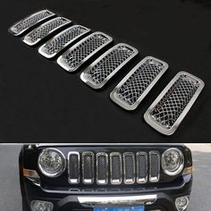 7pcs Silver Car Front Mesh Grilles Trim Grill Cover Insert Shell Styling Sticker Fit For Jeep Patriot 2011-2015 Car decal