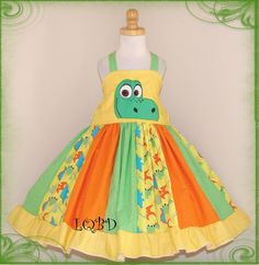 Girls Dress  Good Dinosaur Arlo Dress   Ready to by LQBdesigns