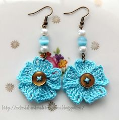 Crochet Patterns Galore - Little Blue Flowers Earrings ༺✿ƬⱤღ✿༻