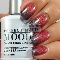 Are you ready to see a couple of the new LeChat Perfect Match Mood polishes that came out this fall? I have two of these fun, color changing shades today. Mood Changing Nail Polish, Mood Gel Polish, Color Change Nail Polish, Gel Polish Colors, Polish Nails, Pretty Nail Colors, Pretty Nails, Fun Nails, Colorful Nail Designs