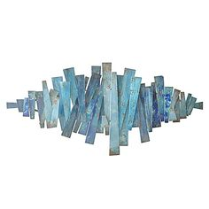 Three Hands Abstract Strips Metal Wall Decor In Blues