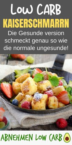 Low Carb Kaiserschmarrn - Lose Weight Low Carb - You can find the healthier recipe for the Kaiserschmarrn on our website! This makes you super slim - Healthy Pasta Recipes, Healthy Drinks, Low Carb Recipes, Healthy Snacks, Protein Desserts, Healthy Protein, Low Carb Desserts, Law Carb, Nutrition