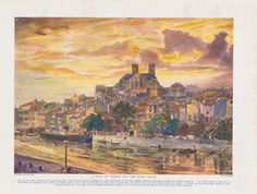 The Sylver Zone is pleased to offer:  A View of Verdun and the River Meuse - a French landscape, vintage colour print  A vintage print circa 1920.