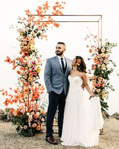The most colorful spring, floral wedding ceremony at Oakridge Farmhouse in Southern California - 100 Layer Cake Wedding Ceremony Ideas, Wedding Altars, Ceremony Arch, Rustic Wedding, Wedding Chuppah, Wedding Backdrops, Seaside Wedding, Wedding Stage, Wedding Receptions