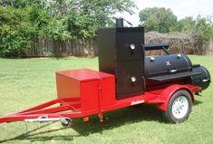 24 Ranger Trailer w Sq. Bbq Smoker Trailer, Bbq Pit Smoker, Bbq Grill, Trailer Smokers, Food Truck Design, Grill Design, Bar B Que Pits, Custom Bbq Pits, Offset Smoker