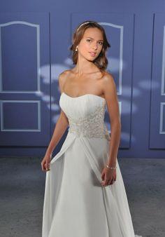 Empire Strapless Appliques Beads Working Chiffon Satin Wedding Apparels - Beach Wedding Dresses - Wedding Dresses