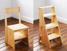 30 Awesome Multi-Functional Chairs for Your Small House – Futurist Architecture Folding Furniture, Smart Furniture, Space Saving Furniture, Wood Furniture, Furniture Design, Furniture Plans, Multipurpose Furniture, Multifunctional Furniture, Simple House Design