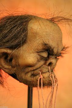 Shrunken Head Like Real Human Tsantsa Skull Sideshow Gaff Oddity by Tom Kuebler