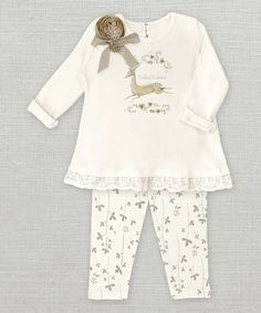 Another great find on #zulily! Ivory Woodland Wunderland Lace Trim Tunic & Leggings - Infant #zulilyfinds