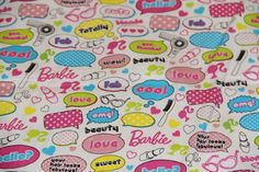 Barbie Conversation words lipstick cotton fabric half yard free ship | pmscrafts - Craft Supplies on ArtFire