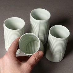 Striped Cups Four Little Juice or Wine Cups by Tjossem on Etsy)