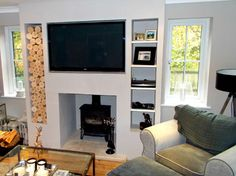 Alcove Space in a Chimney Breast – modern – Living Room – Other Metro – The Log … Alcove Space in a Chimney Breast – modern – Living Room – Other Metro – The Log Basket Wood Burner Fireplace, Tv Above Fireplace, Inglenook Fireplace, Modern Fireplace, Wall Mounted Fireplace, Fireplace Design, Fireplace Mantels, Log Burner Living Room, Living Room With Fireplace