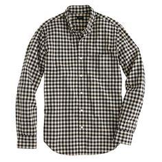 Slim Secret Wash shirt in ivory mini buffalo check